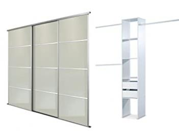White Lacquered Glass, Silver framed, Triple, 4 Panel Sliding Wardrobe Door Kit up to 2692mm (8ft 10ins) wide.