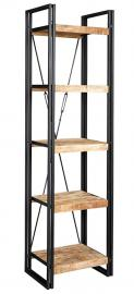 Indian Hub Cosmo Industrial Narrow Open Bookcase, Natural Wood/Dark Metal