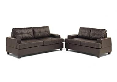 Ideal Furniture Miami Three Plus Two Sofa Set in Faux Leather, Black