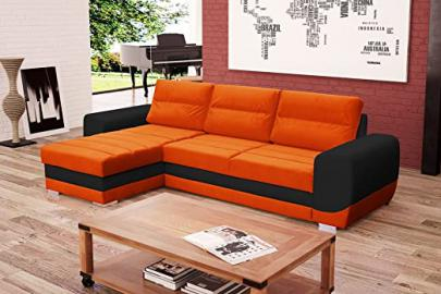 KIRII Corner Sofa Bed* Brand New * Modern Design * ORANGE AND GREY