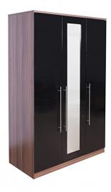 Superior High Quality Ultra Gloss Black & Walnut 3 Door Mirrored Triple Wardrobe