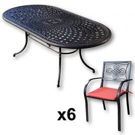 Lazy Susan Furniture - Catherine 210 x 105 cm Oval 6 Seater Cast Aluminium Garden Set - Antique Bronze (Maria chairs, Terracotta cushions)