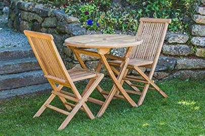 Circular Solid Teak 80cm Folding Table and Chair 2 Seater Patio Furniture Set