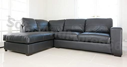 WESTPOINT - CORNER SOFA - REAL LEATHER - BLACK - BROWN- BEIGE (BLACK LEFT)