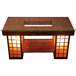 Oriental Furniture Unique Unusual Interesting Floor Lamp, 31-Inch Renato Rattan Coffee Table with Double Lantern Base and Glass Top