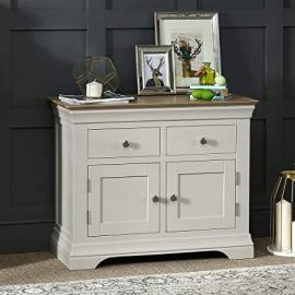 French Country Grey Painted Oak 2 Drawer 2 Door Sideboard