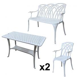 Lazy Susan Furniture - BBQ Side Table, 1 April Bench and 2 April Chairs - Cast aluminium garden set, White