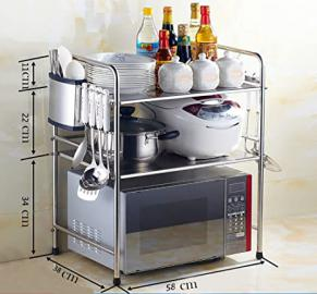 New Multi-function Single Layer / Double Layer / Three LayersMicrowave Oven Stand Shelf Side Organizer Storage Unit Rack With Hanging Hook Keep Your Kitchen Tidy ( Color : F )