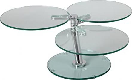 Round Swivel Coffee Table 3Shelves Glass