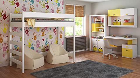 Loft Beds For Kids Children Juniors+Mattress 140x70/160x80/180x80/180x90/200x90 Comes with 10cm Foam Mattress and Ladder on the Side (Short Edge) (160x80, White)
