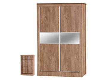 Holland Oak Effect Sliding Mirrored Wardrobe, Wood, Multi-Colour