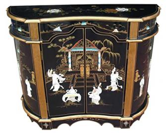 Chinese Furniture - Black Lacquer Sideboard Cabinet with Mother of Pearl Inlay, Oriental Furniture