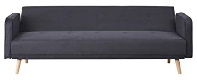 Leader Lifestyle Tokyo Sofa Bed in Luxury Black Fabric, Wood