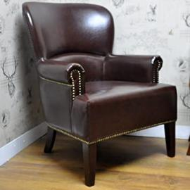 Traditional High Back Brown Leather Wing Back Fireside Chair with Studwork