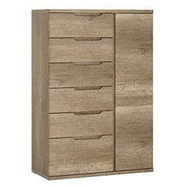 Furniture To Go Contra 1-Door 6-Drawer Cabinet with Melamine, 84 x 124 x 40 cm, Oak