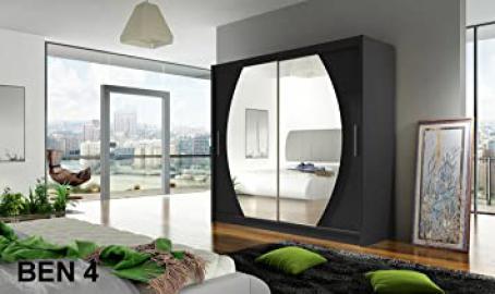 WARDROBE BEN 4 BLACK 180 cm wide 2 sliding doors many colours