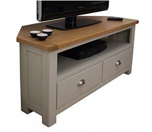 Windermere Sage Grey Painted Corner TV DVD Unit / Plasma TV Stand with Two Drawers