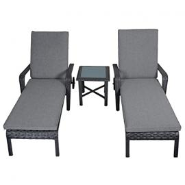 Haiti Rattan Wicker Reclining Sun Loungers & Table Garden Patio Furniture Set