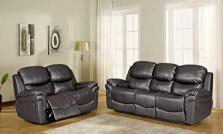 Brand New Hanley Black Leather Recliner Sofa Suite 3 + 2 Seater