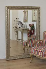 Large Champagne Silver Handmade Bevelled Resin Mirror