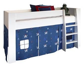 Steens Memphis Mid Sleeper with Pirate Tent, Wood, White/Blue