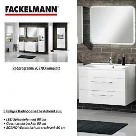 Fackelmann SCENO 3-Piece Bathroom Furniture Set Washbasin / Sink and Mirror