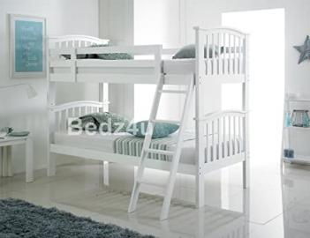 Barbican White Hardwood Bunk Bed and 2 Monarch Rome Damask Mattresses