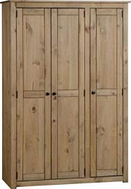 MEXICAN STYLE 3 DOOR DISTRESSED PINE WARDROBE WITH HANGING AND 3 SHELVES