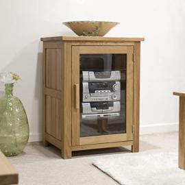 Eton solid oak furniture hi-fi storage cabinet cupboard unit