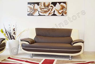 2 Seater Passero Brown and Cream Faux Leather Sofa Suite Settee Couch