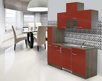 Respekta Kitchen Unit Kitchen Fitting Single 180 cm Oak York Replica Red Ceramic