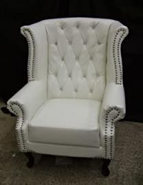 Brand new Chesterfield High Armchair White with Crystal Diamanté Bycast Leather!