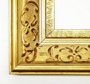 Wall Mirror–Gold 7.3–Chateau–Size Mirror Glass 80x 140–Real Wood