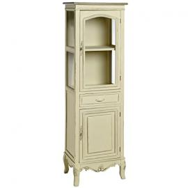 DISTRESSED CREAM GLAZED TALLBOY WITH CUPBOARD STORAGE UNIT DISPLAY CABINET RUSTIC STYLE SHABBY CHIC ANTIQUE AMBLESIDE (H7970) ** FULL RANGE OF MATCHING FURNITURE IS AVAILABLE **