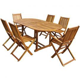 Charles Bentley Garden Hardwood Oval Wooden Garden Patio Furniture Set Extendable Table & 6 Chairs