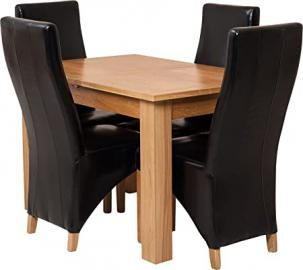 Hermosa Dining Room Set, Wood, Black, 5-Piece