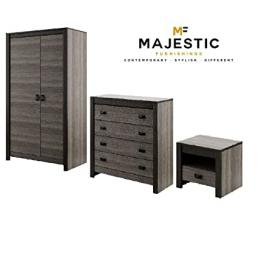 Denver grey mdf 3 piece bedroom set - bedside,chest, wardrobe