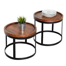 Twi piece set of modern side table - BLEND - solid acacia wood