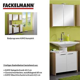 Fackelmann KAYO 3–Piece Bathroom Furniture Set Washbasin / Sink / Spiegel