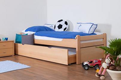 "Children's bed / Youth bed ""Easy Sleep"" K1/1h includes 2nd reclining surface and 2 fillers, 90 x 200 cm Buche solid, natural beech wood"