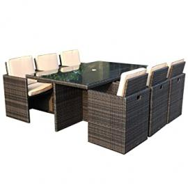 Charles Bentley 7 Piece Garden Rattan Cube Furniture Set Chair Table Patio (6 Seater)