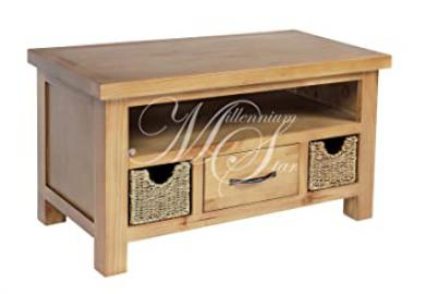 SOLID WOOD CHUNKY PINE WIDESCREEN LCD PLASMA SMALL TV CABINET WITH 2 BASKETS