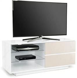 """Centurion Gallus Premium High Gloss White with 2-Ivory Drawers & 3-Shelf 32""""-55"""" LED/ OLED / LCD TV Cabinet - Assembled"""
