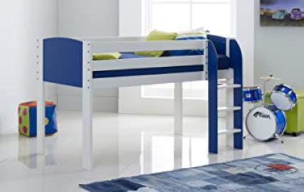 Cabin Bed 3FT Wide Shorty - White/Blue - Straight Ladder - Made In The UK.