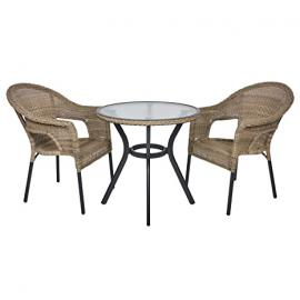 Havana Rattan Wicker Bistro 2-Seat Garden Patio Furniture Table & Chairs Set