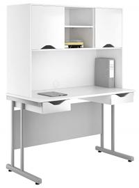 Kit Out My Office UCLIC Cantilever Desk Cupboard with Double Drawer and 2 Door Upper Storage, Metal, White Gloss, 1200 mm
