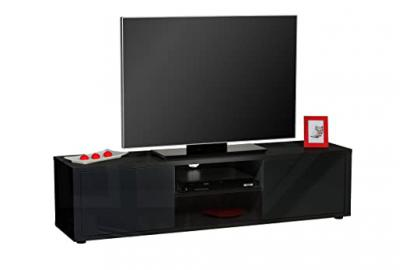 TV lowboard Floor Unit HIFI SHELF BLACK GLOSS B 160 x H 40 x D 40 cm