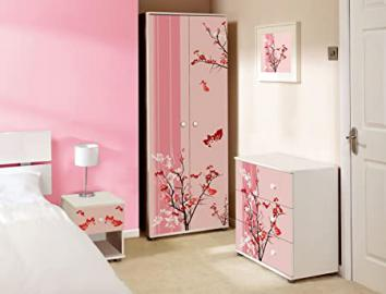 Pink Floral Design Childrens/Kids White Bedroom Furniture Sets