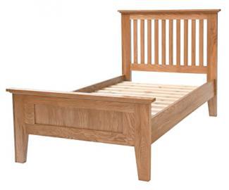 Camberley Oak 3' Single sized Bed Frame in Light Oak Finish | Solid Wood Bedroom 3FT Children''s / Kids / Guest Bedstead