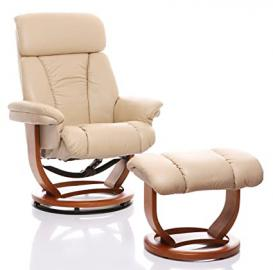 The Saigon - Genuine Leather Recliner Swivel Chair & Matching Footstool in Cream